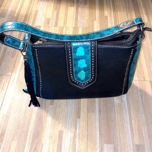 Montana West leather turquoise shoulder purse 👜